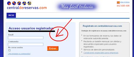 Acceso a CentraldeReservas.com como usuarios registrados