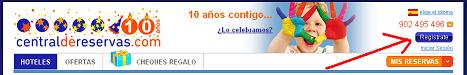 Registrarse como cliente desde la cabecera de CentraldeReservas.com