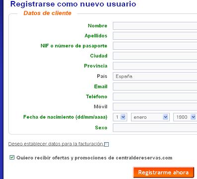 Formulario Registro CentraldeReservas.com