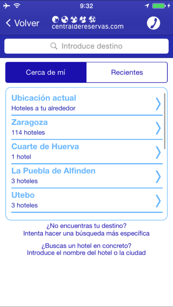 Busca tu alojamiento cerca de ti en la app
