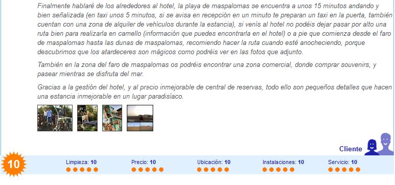 Comentario hotel septiembre