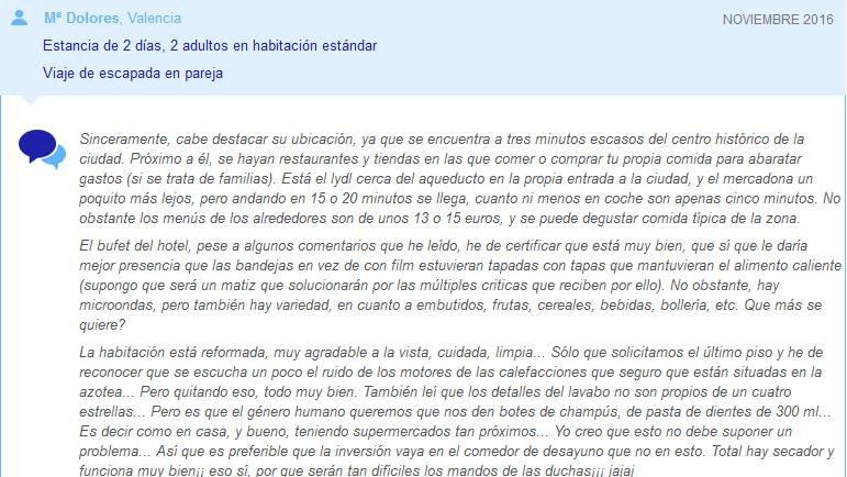 Comentario Hotel Teruel ganador